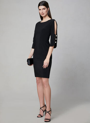 Joseph Ribkoff - Pearl Detail Sheath Dress, Black, hi-res