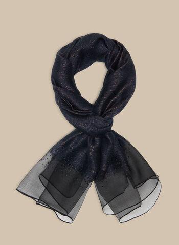 Rhinestone Embellished Silk Scarf, Blue,  scarf, silk, silk scarf, metallic, rhinestones, spring 2020, summer 2020