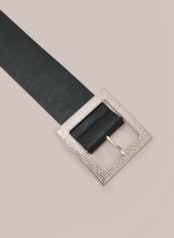 Crystal Detail Belt, Black,  belt, buckle, crystal, fall winter 2020