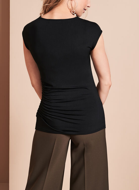 Extended Sleeve Pintuck Top, Black, hi-res