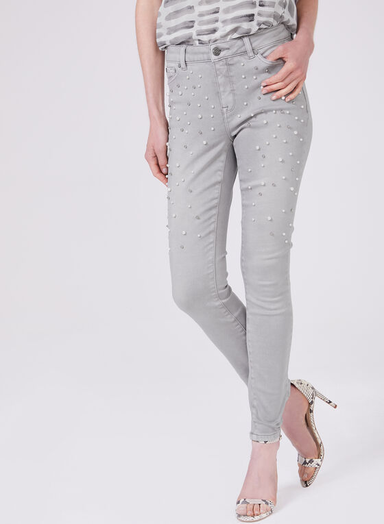 Slim Leg Pearl Detail Jeans, Grey, hi-res