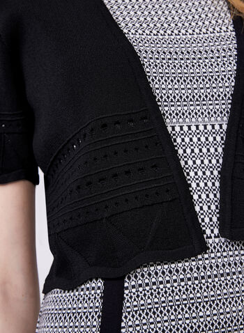 Alison Sheri - Pointelle Detail Bolero, Black, hi-res