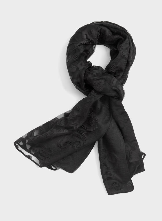 Sheer Lace Scarf, Black, hi-res