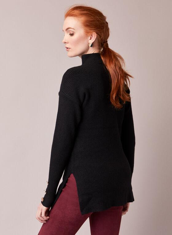 Mock Neck Tunic Sweater, Black