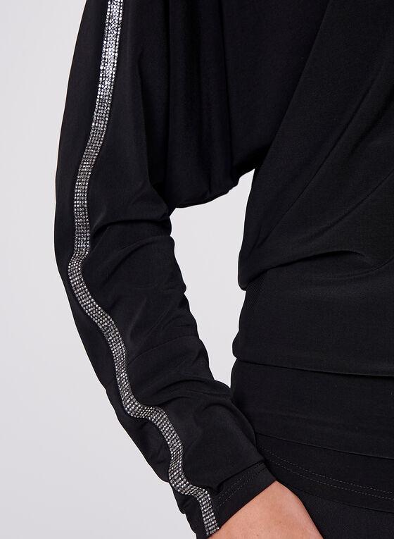 Frank Lyman - Rhinestone Detail Dolman Sleeve Blouse, Black, hi-res