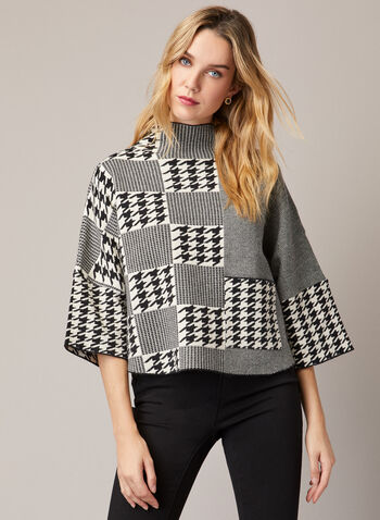 Houndstooth Print Sweater, Black,  Fall winter 2020, sweater, knit, bell sleeves, high collar, Gabby Isabella, pocket, houndstooth, herringbone
