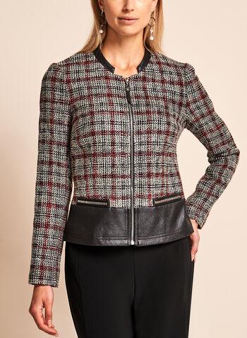 Vex - Bouclé Plaid & Faux Leather Trim Jacket, , hi-res