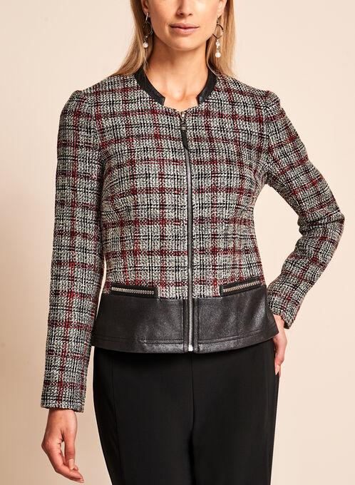 Vex - Bouclé Plaid & Faux Leather Trim Jacket, Black, hi-res
