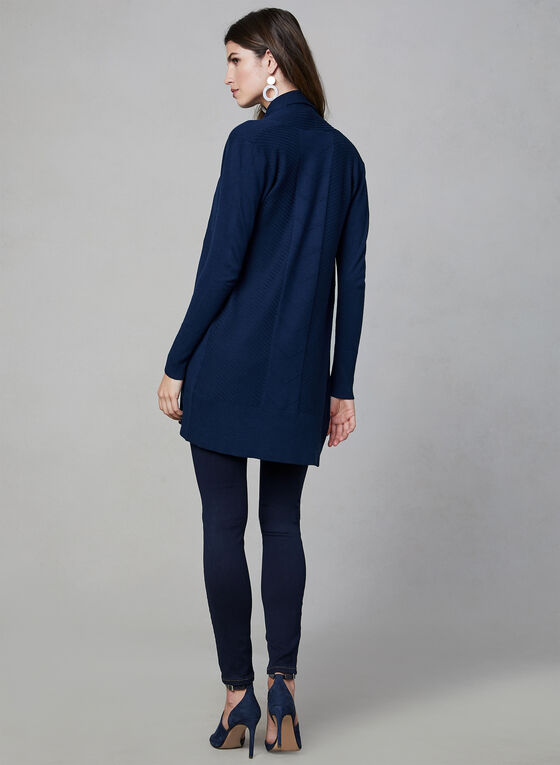 Long Open Front Cardigan, Blue, hi-res