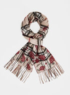 Mixed Floral & Plaid Print Scarf, Brown