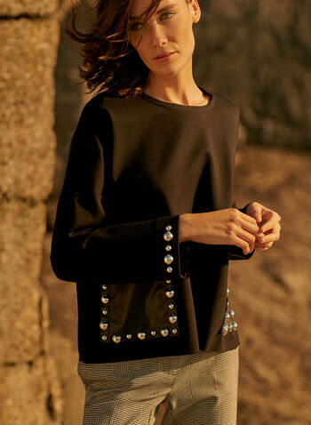 Joseph Ribkoff - Stud Detail Top, Black,  made in Canada, online exclusive, top, blouse, long sleeves, crew neck, vegan leather, pockets, studs, loose fit, fall winter 2021