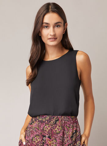 Crew Neck Sleeveless Blouse, Black,  blouse, sleeveless, crew neck, chiffon, fall winter 2020