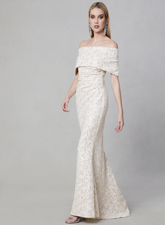 Vince Camuto - Sequin Lace Mermaid Dress, Off White