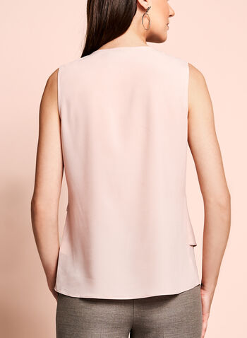 Sleeveless Cascade Front Blouse, Pink, hi-res