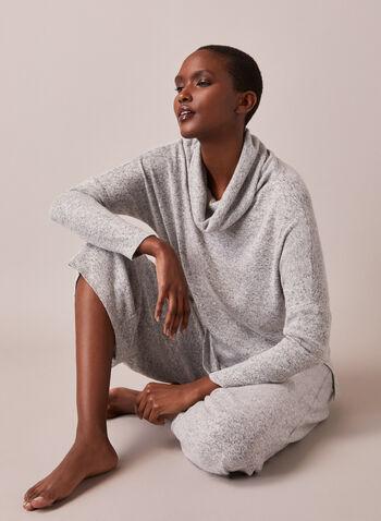 Haut en tricot à col bénitier , Gris,  fait au canada, col châle, manches longues, effet chiné, tricot