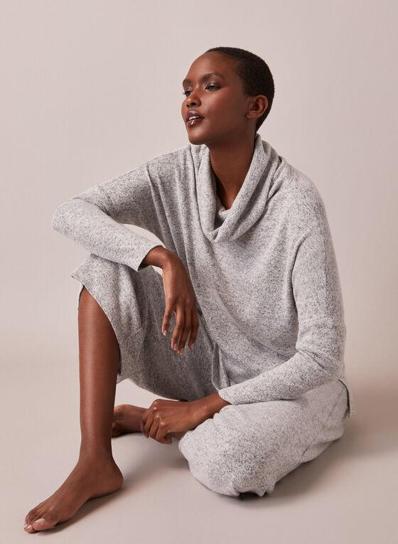 Cowl Neck Asymmetric Knit Top, Grey