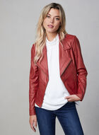 Vex - Faux Leather Jacket With Zipper Trim, Red