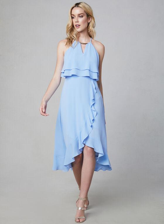 Kensie - Robe à encolure bijou et volants, Bleu, hi-res
