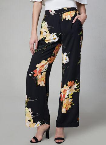 Pantalon jambe large à imprimé floral, Noir, hi-res,  palazzo, fleurs, contraste, contrastant, printemps 2019