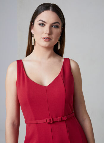Julia Jordan - Belted A-Line Dress, Red, hi-res