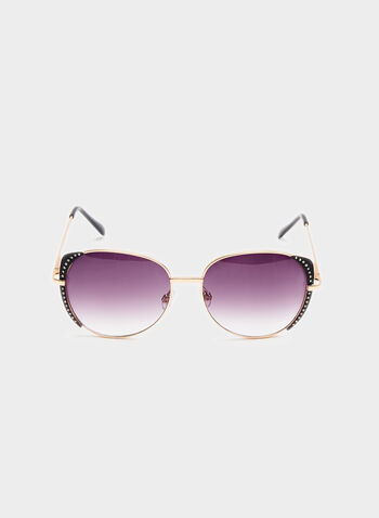 Crystal Embellished Metal Sunglasses, Gold, hi-res