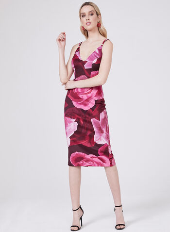 BA Nites - Floral Print Sheath Dress, Purple, hi-res