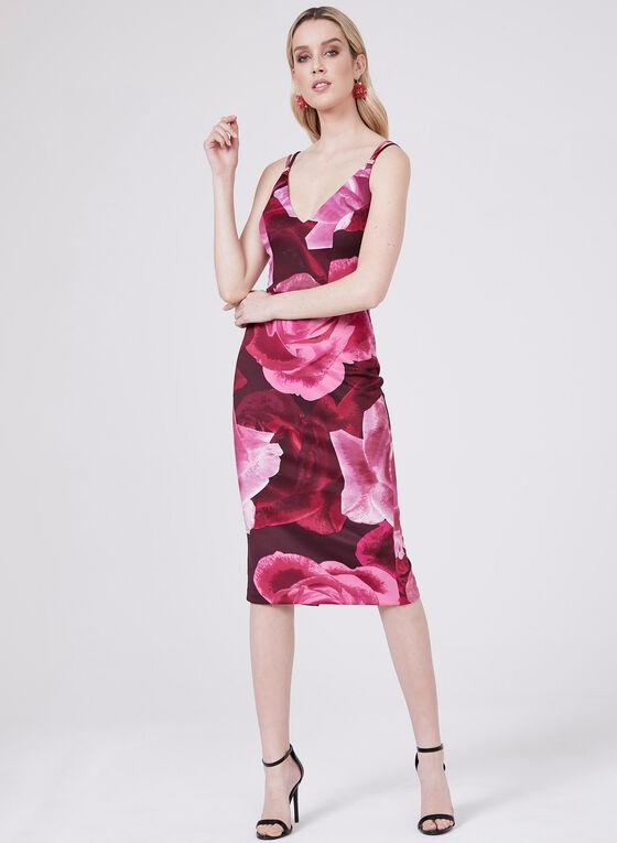 BA Nites - Floral Print Sheath Dress, Purple, hi-res