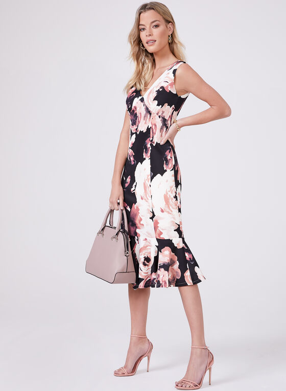 Marina – Floral Print Flounce Hem Dress, Black, hi-res