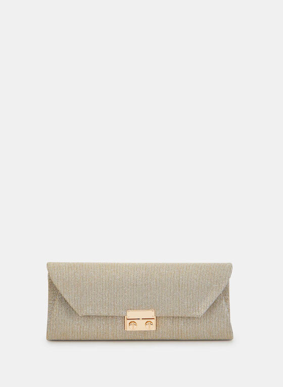 Glitter Envelope Evening Clutch, Off White, hi-res