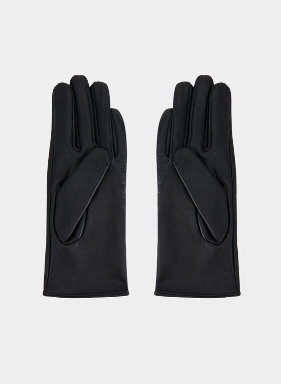 Embellished Faux Leather Gloves, Black, hi-res
