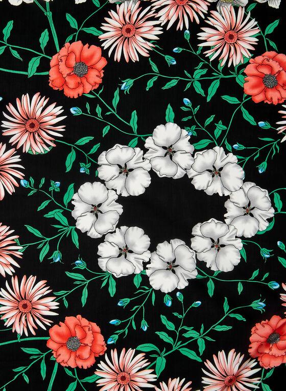Floral Print Scarf, Black