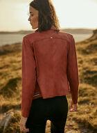 Vex - Zipper Detail Faux Leather Jacket, Beige