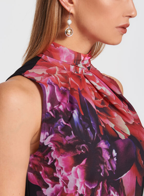Floral Print Choker Neck Top , Purple, hi-res