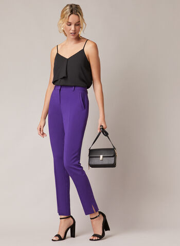 Giselle Slim Leg Pants, Purple,  pants, slim leg, giselle, pleats, pockets, high rise, fall winter 2020