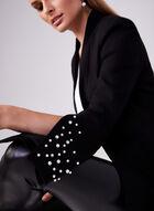 Veste redingote à manches longues cloche et perles, Noir, hi-res