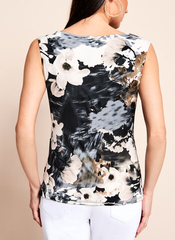 Floral Print Ruched Front Top , , hi-res