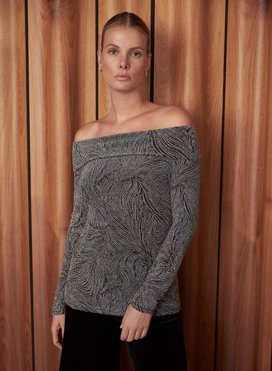Bardot Neckline Jacquard Knit Top, Black