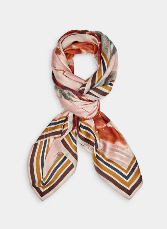 Vince Camuto – Square Floral Print Scarf, Brown