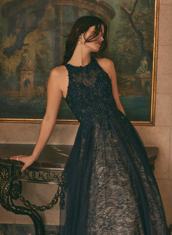 BA Nites - Rhinestone Mesh Ball Gown, Blue,  prom dress, gown, ball gown, sleeveless, high neck, floral, embroidered, rhinestones, mesh, layered, crinoline, spring summer 2021