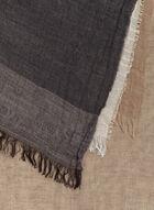 Foulard oblong à blocs de couleurs en coton et laine, Noir, hi-res