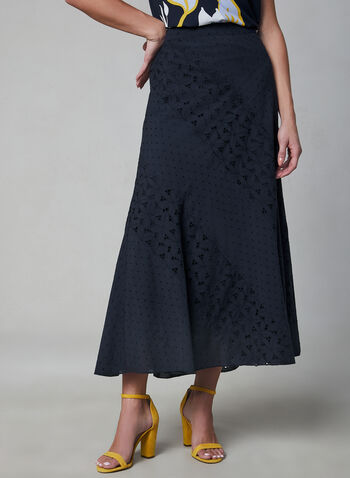 Embroidered Maxi Skirt, Blue, hi-res,  eyelets, long skirt, A-line, spring 2019