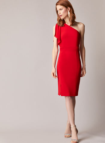Asymmetric Crepe Cocktail Dress, Red,  dress, cocktail, crepe, asymmetric, drape, fall winter 2020