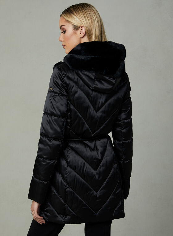 Karl Lagerfeld Paris - Quilted Faux Down Coat, Black