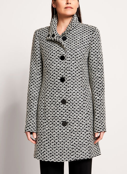 Tweed Stand Collar Coat , Black, hi-res