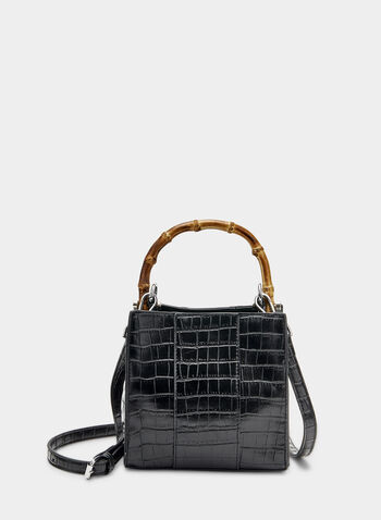 Sac en faux crocodile et anses en bambou, Noir, hi-res,  sac, rectangle, faux crocodile, bambou, printemps été 2019