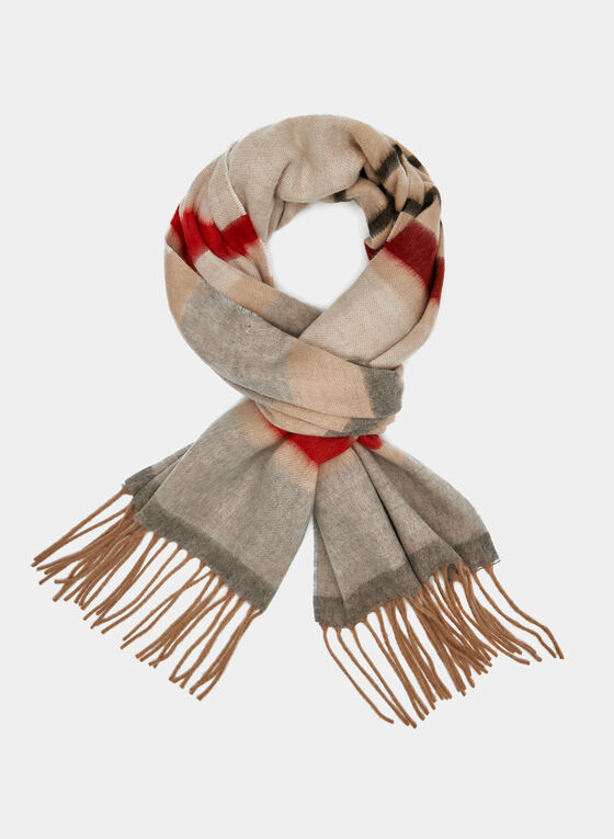 Stripe Print Knit Scarf, Brown, hi-res