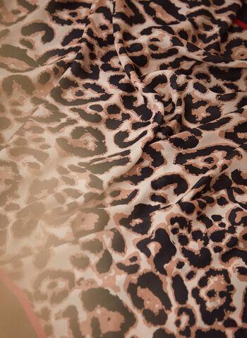 Foulard rectangulaire à motif léopard, Noir,  foulard, accessoires, forme rectangulaire, motif léopard, animal, bordure contrastante, deux tons, doux, soyeux, automne hiver 2021