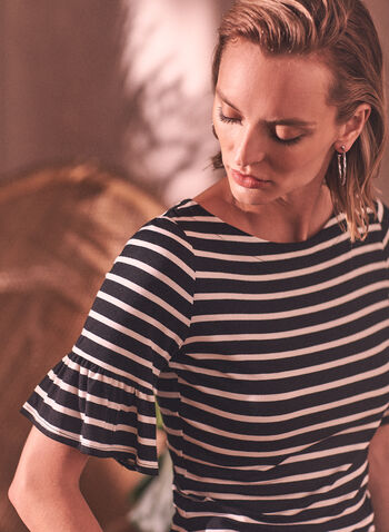 Stripe Print Tee, Black,  spring summer 2021, crew neck, tops, tees, t-shirt, made in Canada, striped, stripes, printed, scoop neck, bell sleeves