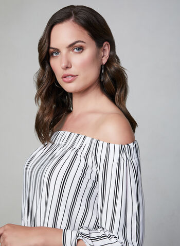 Off The Shoulder Blouse, White, hi-res,  striped blouse, jersey blouse