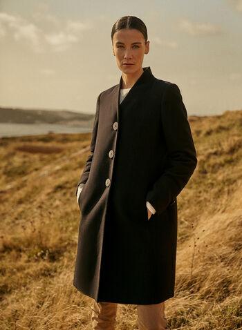Mid Length Wool Blend Coat, Black,  fall winter 2020, coat, mid-length, mid length, wool blend, v neck, stand collar, long sleeve, warm, button, lined, pocket, winter